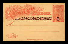 Belgian Congo 10 Centimes Red on Buff Postal Card Overprinted Black 5 centimes