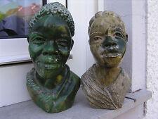 Afrika Büste Paar Shona Art Stone Afrikanerin Afrikaner bust Serpentine africa