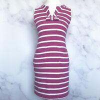 Kate Spade Womens Rio Pink White Striped Sleeveless Tropez Dress Size Small