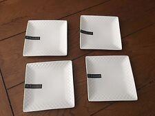 Roscher Square Dessert Plates BASKET Weave. Set Of 4. Fine Porcelain. 6 Inch New