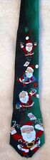 Green and Black Silk Holiday Tie with Santa Claus Standard Width and Length