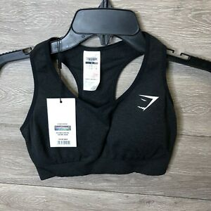 Gymshark Womens Medium Vital Seamless Sports Bra Black Marl NEW
