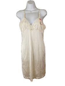 Vtg Women's Full Slip Ivory Size 34/12 Petite Antron III JCPenney Nylon Lace NEW