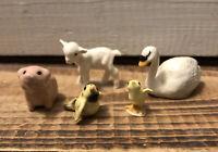 Lot 5 Vintage Hagen-Renaker Ceramic Farm Figurines Pig Lamb Swan Chick Bird