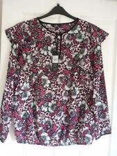 Julien MacDonald Pink Multi Floral Animal Print Blouse UK 16 EUR 42-44 US 12