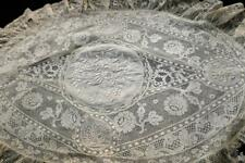 ANTIQUE FRENCH NORMANDY MIXED LACE OVAL BOUDOIR PILLOWCASE COVER