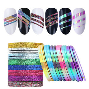 Matte Glitter Nail Striping Tape Line Colorful Nail Art Adhesive Stickers Decals