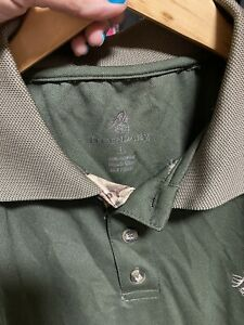 Legendary Whitetails Men's Dark Green And Camo Hunting Polo Size Large