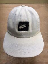 Nike Block Logo Hat 1989 Vintage Strapback B&W Mini Swoosh Cap Rare Distress