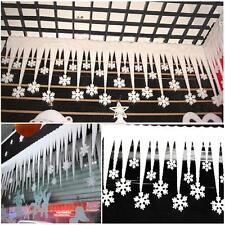 2pcs White Snowflake Ice Strip Festival Ornaments Christmas Tree Xmas Decor