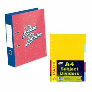 Set- A4 Lever Arch File Assorted Colours & A4 Subject Dividers Coloured Punched