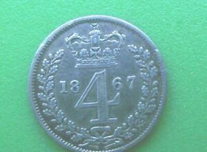 SILVER MAUNDY FOURPENNY 1867 VICTORIA YOUNG HEAD