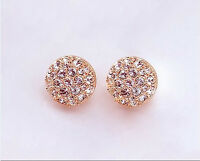 Fashion Women Lady Elegant circle Crystal Rhinestone Ear Stud Earrings beautiful