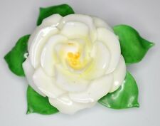 VTG CARA CHINA STAFFORDSHIRE Ivory Colored Porcelain Flower Pin Brooch
