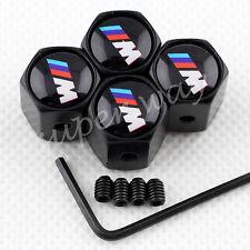 Dark Black Metal Antitheft Car Tyre Tire Air Valve Cap For BMW M Power Vehicles
