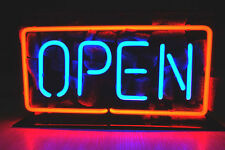 """OPEN RED-BLUE BEER BAR CLUB LAMP POSTER LED NEON LIGHT SIGN 10"""" X 5"""""""