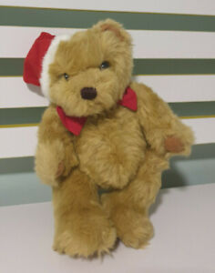 AVON CHRISTMAS TEDDY BEAR RED BOW AND SANTA HAT 28CM!