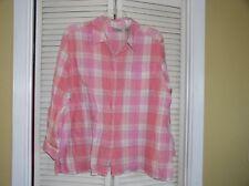Liz Villager Sport Pink Plaid Linen Button Front Shirt Blouse Women's Plus 2X
