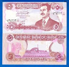 Iraq P-80 5 Dinars Year 1992 Saddam Hussein Uncirculated Banknote Asia