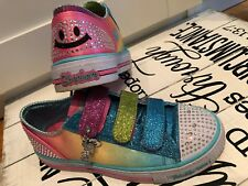 Skechers Twinkle Toes Light Up GIrl's Tennis Shoes Sz 2 Emojis Pink Blue