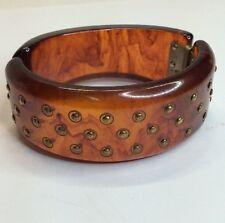 Vintage Bakelite Hinged RootBeer Studded Bracelet (c61)