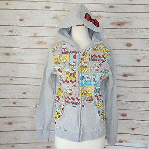Sanrio Hello Kitty Gray Hoodie Sweatshirt L All Over Print Embroidered Womens