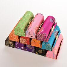 Retro Brocade Embroidered Flower Design Lipstick Case Hold Box with Mirror CC