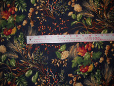 "100% Cotton Fabric BTY 45"" Secrets of the Autumn Harvest Navy Wheat Rust"