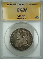 1835 Capped Bust Silver Half Dollar Coin ANACS VF-35 Details Cleaned