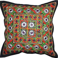 """16"""" Cushion Pillow Cover Mughal Mirror Embroidered Ethnic Throw Indian Decor"""
