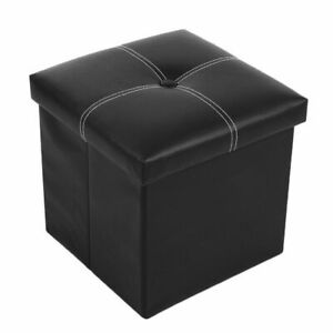 Single Ottoman Faux Leather Toy Storage Box Home Office Stool Guest Spare Seat