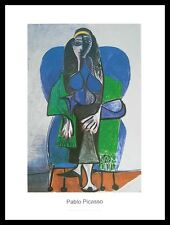 Pablo Picasso Sitzende Frau mit grünem Schaal Poster Kunstdruck & Rahmen 60x80cm