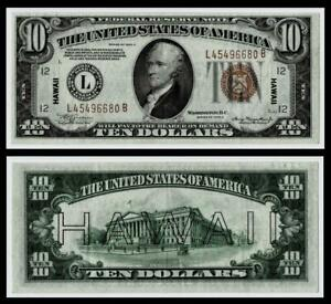 """FR. 2303 1934-A $10 TEN DOLLARS """"HAWAII"""" FRN FEDERAL RESERVE NOTE~~EXTRA FINE"""
