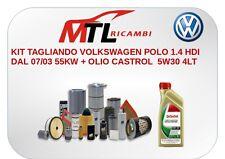 KIT TAGLIANDO VOLKSWAGEN POLO 1.4 HDI DAL 07/03 55KW + OLIO CASTROL  5W30 4LT