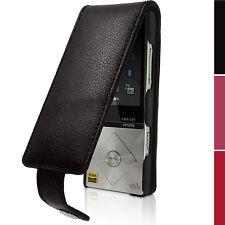 Schwarz Leder Flip Tasche Schutzhülle für Sony Walkman NWZ-A15 A17 Case Cover
