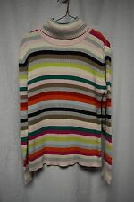 St. John's Bay Sweater Sz L Multi Striped Turtleneck long Sleeve Ribbed Casual