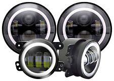 "CREE 7"" Halo LED Headlight & 4'' Fog Lights For Jeep Wrangler White Super Bright"