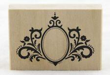 Oval Frame Flourish Wood Mounted Rubber Stamp Martha Stewart NEW art fancy decor