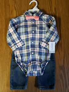 NWT Boys 9mo Carters Plaid Jeans Outfit
