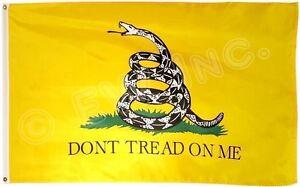 3x5 Ft Gadsden DONT TREAD ON ME Culpepper Rattlesnake Tea Party Flag - Yellow