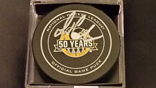 Mario Lemieux signed Pittsburgh Penguins 50th Anniversary Official Game Puck COA