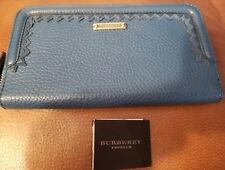 Authetic BURBERRY Prorsum Blue Leather Logo, Long Ziparound Wallet $595 Dust Cov
