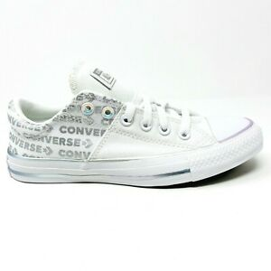 Converse Chuck Taylor All Star Madison Ox White Silver Wordmark Womens 566104C
