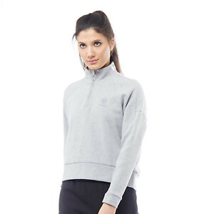 Reebok Classics Womens DC High Neck Long Sleeve Top, Grey, LARGE - RRP £44.99.