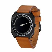 NEW Slow SLOW-JO-19 Unisex One-Hand 24Hr Black Dial Brown Vintage Leather Watch