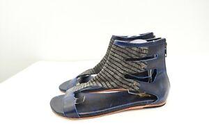 FREEBIRD By Steven 9 Devil Flat Sandals Blue Leather Back Zip Gladiator Womens