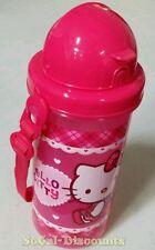 HELLO KITTY 600ML 20.3 fl oz, BPA FREE WATER STRAW BOTTLE WITH STRAP, NEW W/ TAG