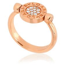 Bvlgari Bvlgari 18K Pink Gold And Mother Of Pearl Pave Diamonds Ring Size 8.25