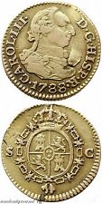 SPAIN COLONIAL GOLD COIN 1/2 ESCUDO CHARLES III SEVILLA MINT 1788 AD