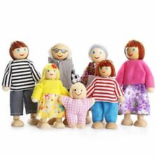 Kids Girls Lovely Happy Family Dolls Playset Wooden Figures Set of 7 People for